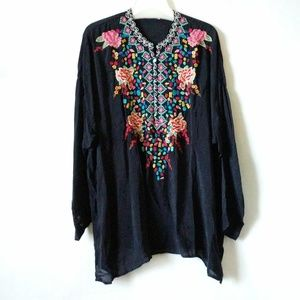 Johnny Was Gemstone Embroidered Floral Top Blouse